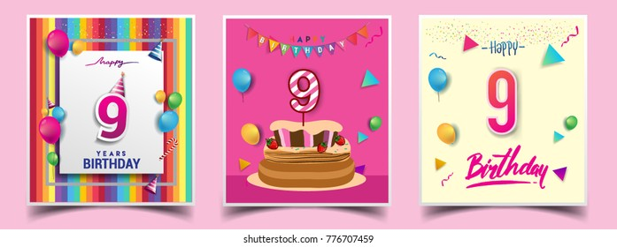 Vector Sets of 9 Years Birthday invitation, greeting card Design, with confetti and balloons, birthday cake, Colorful Vector template Elements for your Birthday Celebration Party.