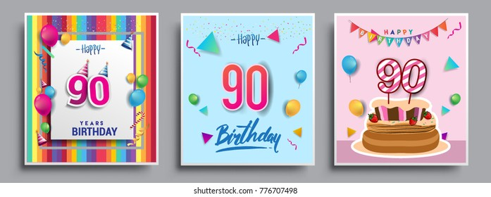 Vector Sets of 90 Years Birthday invitation, greeting card Design, with confetti and balloons, birthday cake, Colorful Vector template Elements for your Birthday Celebration Party.