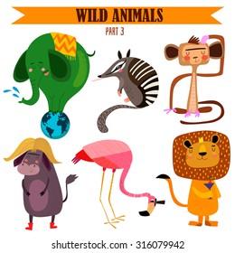 Vector set-Wild animals in cartoon style. Part 3: Elephant, numbat, monkey, flamingos, lion, yak.Bright children cartoon collection. - stock vector