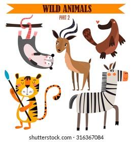 Vector set-Wild animals in cartoon style. Part 2: opossum, impala, platypus, tiger, zebra.Bright children cartoon collection. - stock vector