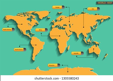 vector of seven continent with world map and text icon