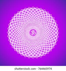 Vector seven primary crown Sahasrara chakra sanskrit seed mantra Om hinduism syllabl thousand lotus petals. Dot work tattoo hand drawn white symbol on violet background for yoga meditation