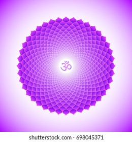 Vector seventh crown Sahasrara one thousand petals lotus chakra with hinduism sanskrit seed mantra Om. Flat style violet volumetric symbol for meditation, yoga and energy spiritual practices.