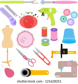 Vector of Sewing Tools, Handicraft tailor accessories, mannequin, thimble, nipper, thread, spool, needles in pastel color. A set of cute and colorful icon collection isolated on white background