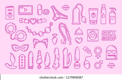 Vector Sex Shop toys pink flat line icon items and Adult store accessories.  Exotic Sex Shop items and objects flat line icons and symbols