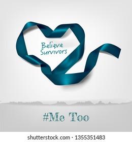 Vector Sexual Assault Awareness Month (April) concept with teal awareness ribbon.