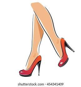 Vector sexy legs, high-heeled red shoes. Female legs. Sexually young femininity sexy logotype, outline attractive foot,.