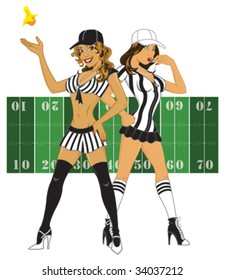 Vector - Sexy referees. Each referee is on a separate layer as well as the flag and background. All elements can be used individually.