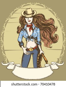 Vector sexy woman in cowboy hat and clothes.Cowgirl