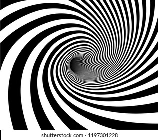 Vector shaded 3D illustraion of tunnel vortex view with geometrical hypnotic black and white flowing inside a hole.