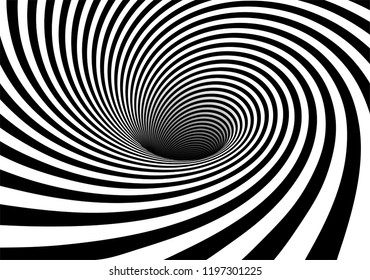 Vector shaded 3D illustraion of vortex view with geometrical hypnotic black and white flowing down below.
