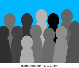Vector shadow human standing on background