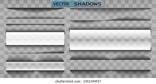 Vector shadow. Transparent shadow realistic illustration. Page divider with transparent shadow isolated. Pages vector set.