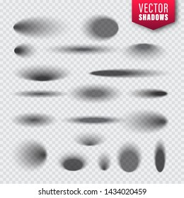 Vector shadows set on transparent background. Realistic isolated shadow. Vector illustration.