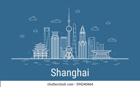 Vector Shanghai City. All Shanghai famous buildings. Line art style. Skyline