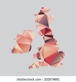 Vector shape of the British Isles in s polygonal style