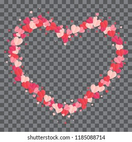 Vector shape confetti splas. Valentine's Day background congratulation card. Heart form of a lot of small hearts on a white background.