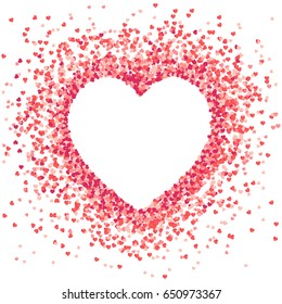 Vector shape  confetti splash with white heart inside. Valentine's Day background congratulation card. Heart form of a lot of small hearts on a white background.