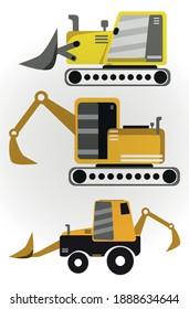 vector shape heavy equipment set