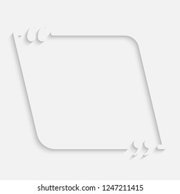 Vector Shape Speech Bubble Quote Blank Template. Empty Qoute Template. Business Card Template, Information, Text. Bracket. Sending, Direct Speech. Quotes. Speech Qoute Object.
