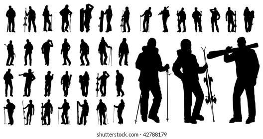 vector shape sport silhouette winter snowboard and ski