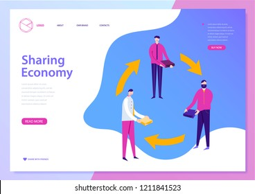 Vector sharing economy landing page, web concept, banner. Illustration with liquid background. Men share resources, business colaboration