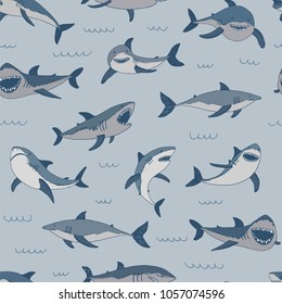 Vector shark sea animal wild hand drawn doodle illustrations set.