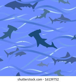 Vector sharks and waves background - seamless tile