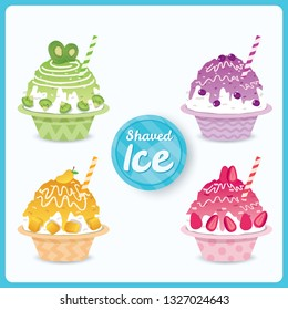 Vector of Shaved Ice various flavor with fruits topping.