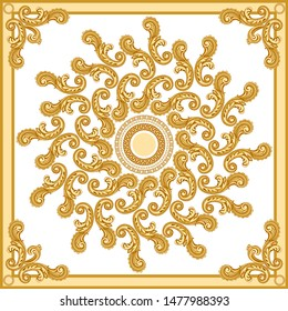 Vector shawl print on a beige and white background. Fashionable pattern from gold chains, Baroque fantasy scrolls, acanthus leaves. Scarf, bandana, neckerchief, kerchief, silk textile patch, carpet