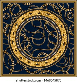 Vector shawl print on a dark blue background. Fashionable pattern from gold chains, Baroque fantasy scrolls. Scarf, bandana, neckerchief, kerchief, silk textile patch, carpet