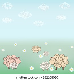 Vector Sheep Background.