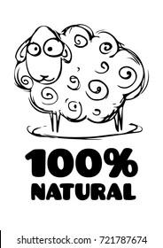 "vector sheep cartoon art with signature ""100% natural"""
