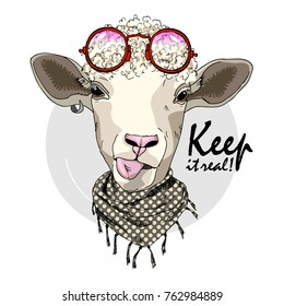 Vector sheep with glasses. Hand drawn illustration of dressed sheep. Keep it real.