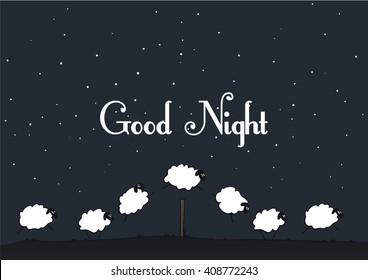 Vector sheep - Good Night