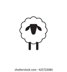 Vector sheep or ram icon, logo, template, pictogram. Modern emblem for market, internet, design, decoration. Trendy simple lamb or ewe symbol.