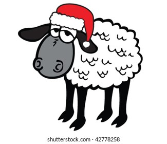 vector sheep in santa hat, ready for holiday