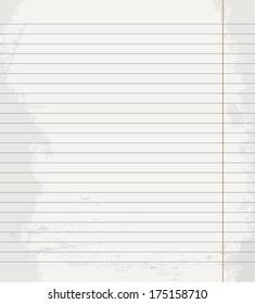 Vector Sheet of notebook in line