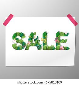 Vector sheet of paper attached to the wall by tape. Inscription Sale of leaves and flowers.