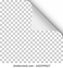 Vector sheet of transparent paper with twisted upper right corner and soft shadow