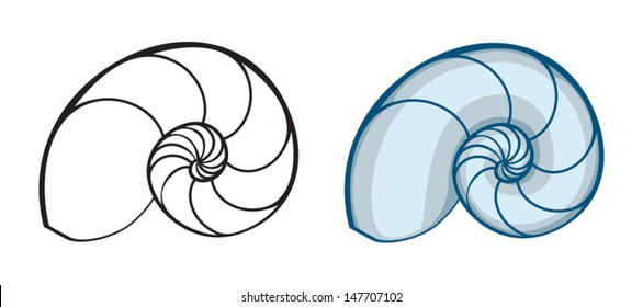 vector shell silhouette, sea ??snail shell