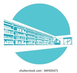 Vector shelves in store. supermarket.