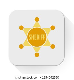 vector sheriff badge icon. Flat illustration of sheriff. police concept isolated on white background. sheriff sign symbol - star badge icon