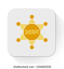 vector sheriff badge icon. Flat illustration of sheriff. police concept isolated on white background. sheriff sign symbol - star badge icon