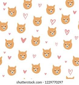 Vector shiba inu dog pattern, puppy face illustration.