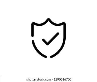 Vector shield with check mark line icon - Vector