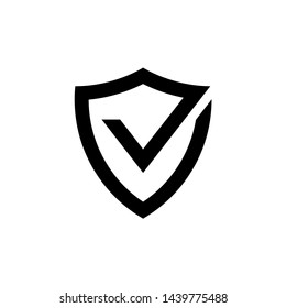 Vector shield and checkmark icon. Safety, protection. Premium quality graphic design