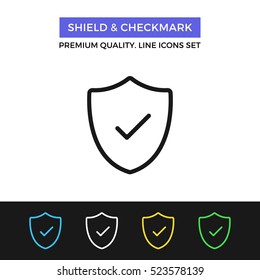 Vector shield and checkmark icon. Safety, protection. Premium quality graphic design. Signs, outline symbols collection, simple thin line icons set for websites, web design, mobile app, infographics