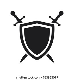 vector shield icon, flat design best shield vector icon, sword icon conception with shield icon