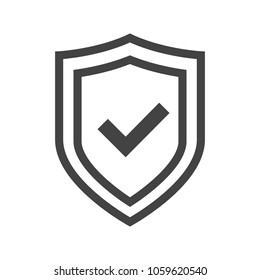 Vector shield icon, logotype with tick, security emblem vector collection, protection flat logo, reliability thin line button with check sign. Transparent background.